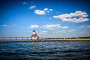 Saint Joseph Photo Posters - Saint Joseph Lighthouse and Pier Picture Poster by Paul Velgos