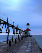 Saint Joseph Prints - Saint Joseph Lighthouse and Pier Print by Twenty Two North Photography
