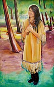 Religious Art Painting Prints - Saint Kateri Tekakwitha Version One Print by Sheila Diemert