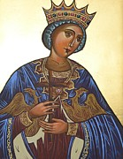 Greek Icon Posters - Saint Kateryna Icon Poster by Kateryna Kurylo