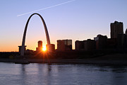 Saint David Posters - Saint Louis Arch Sunset Poster by David Yunker
