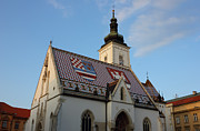 Tiled Framed Prints - Saint Marks Church in Zagreb Croatia Framed Print by Kiril Stanchev