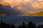 Glacier National Park Posters - Saint Mary Sunrise Poster by Joseph Rossbach