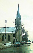 Halifax Artists Framed Prints - Saint Matthews Church Halifax  Framed Print by  Halifax Artist John Malone