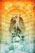 Saint Michael Photos - Saint Michael Fountain Old World by Carol Groenen