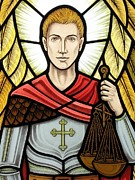 Lead Glass Art Posters - Saint Michael Poster by Gilroy Stained Glass