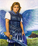 Indigo Painting Prints - Saint Michael the Archangel Print by Patty Kay Hall