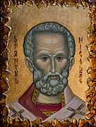 Religious Mixed Media Prints - Saint Nicholas Print by Iconos Art