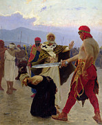 Bravery Prints - Saint Nicholas of Myra saves three innocents from death Print by Ilya Efimovich Repin