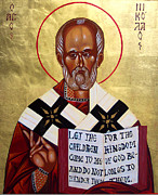 Byzantine Icon. Prints - Saint Nicholas the Wonder Worker Print by Joseph Malham