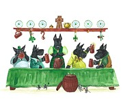 Scottie Paintings - Saint Patricks Day MacDuff by Margaryta Yermolayeva