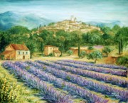 South Of France Painting Posters - Saint Paul de Vence and Lavender Poster by Marilyn Dunlap