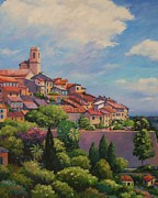 Ages Painting Prints - Saint Paul de Vence  Detail Print by John Clark