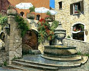 Provence Village Painting Prints - Saint Paul de Vence Fountain Print by Michael Swanson