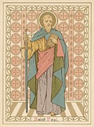 Red Robe Drawings Posters - Saint Paul Poster by English School