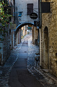 Saint Paul De Vence Framed Prints - Saint Paul Rue Grande Framed Print by Inge Johnsson