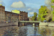 Old Town Digital Art Prints - Saint Petersburg 3 Print by Yury Malkov