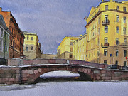Old Town Digital Art Prints - Saint Petersburg in winter 2 Print by Yury Malkov