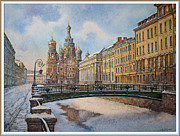 Snow Picture Paintings - Saint-Petersburg in winter by Andrey Kozlov