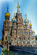 Russia Painting Metal Prints - Saint Petersburg Russia The Church of Our Savior on the Spilled Blood Metal Print by Irina Sztukowski
