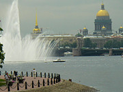 Saint Petersburg Skyline Neva River Fountains Russia Print by Robert Ford