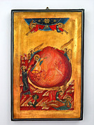 Byzantine Mixed Media Framed Prints - Saint Prophet Elias hand Painted Russian Byzantine Icon  Framed Print by Denise Clemenco