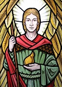 Lead Glass Art Posters - Saint Raphael Poster by Gilroy Stained Glass