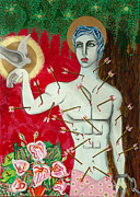 Religious Artist Painting Metal Prints - Saint Sebastian or The Courage to come out Metal Print by Beddru