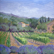 Provence Village Prints - Saint Ser Vineyard Print by Linda  Wissler