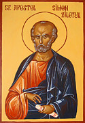 Byzantine Painting Originals - Saint Simon the Zealot by Dumitru Ursu