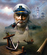 Captain Posters - Saint Simons Island Sea Captain 2 Poster by Yoo Choong Yeul
