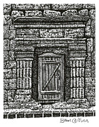 Languedoc Drawings Framed Prints - Saint Thibery Doorway Framed Print by Brian Ceitinn