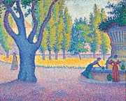 Park Scene Painting Metal Prints - Saint-Tropez Fontaine des Lices Metal Print by Paul Signac