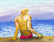 Homo-erotic Framed Prints - Saint-Tropez Man Framed Print by Dennis Lansdell