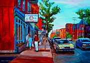 Streetscenes Paintings - Saint Viateur Bagel Shop by Carole Spandau