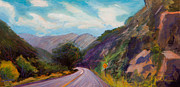 Mountain Road Painting Posters - Saint Vrain Canyon Poster by Athena  Mantle