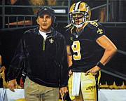 Duo Painting Posters - Saints Dynamic Duo Poster by Stephen Broussard