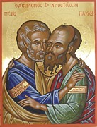 Byzantine Painting Prints - Saints Peter and Paul Icon Print by Peter Murphy