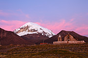 James Brunker - Sajama Church and Volcano at Sunset