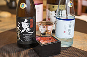 Sake Bottle Prints - Sake - A variety of sake to taste. Print by Jamie Pham