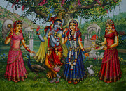 Radha Metal Prints - Sakhi Yugal Metal Print by Vrindavan Das