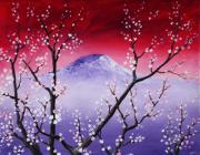 Mountain Scene Drawings Prints - Sakura Print by Anastasiya Malakhova