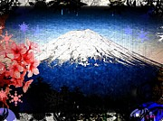 Sakura Digital Art Prints - Sakura Mount Fuji Print by Daniel Janda