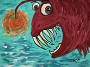 Salmon Painting Posters - Sal Mon Poster by Debbie May