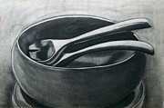 Salad Drawings Prints - Salad Bowl Print by Cecilia Stevens