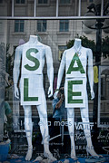Apparel Framed Prints - Sale in Window Display with mannequins in Toronto Framed Print by Randall Nyhof