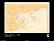 Nautical Chart Photos - Salem Harbor 1900 by AOC Images