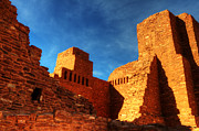 Church Ruins Framed Prints - Salinas Pueblo Abo Mission Golden Light Framed Print by Bob Christopher