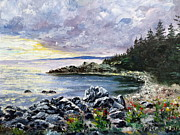 Maine Shore Painting Originals - Salisbury Cove by Lee Piper