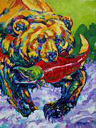 Salmon Paintings - Salmon Bear by Derrick Higgins
